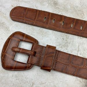 EXPRESS — GENUINE LEATHER — Brown Croc Belt — M
